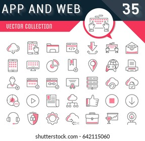 Set vector line icons in flat design smm, cms, seo and ui, ux design with elements for mobile concepts and web apps. Collection modern infographic logo and pictogram.