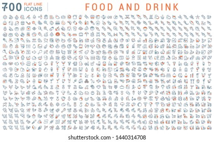 Set of vector line icons of food and drink for modern concepts, web and apps.