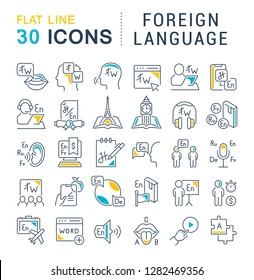Set of vector line icons of foreign language for modern concepts, web and apps.