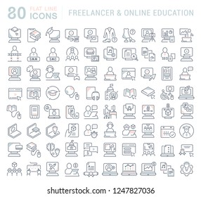 Set of vector line icons of freelancer and online education for modern concepts, web and apps.