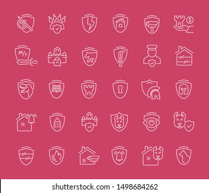 Set of vector line icons of guard company for modern concepts, web and apps.