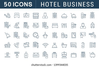 Set of vector line icons of hotel business for modern concepts, web and apps.