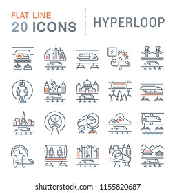 Set of vector line icons of hyperloop for modern concepts, web and apps.