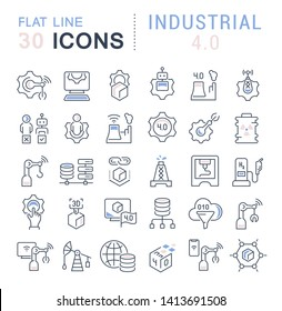 Set of vector line icons of industrial 4.0 for modern concepts, web and apps.