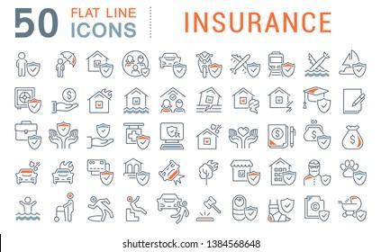 Satz von Vektorlinien-Symbole der Versicherung für moderne Konzepte, Web und Apps.