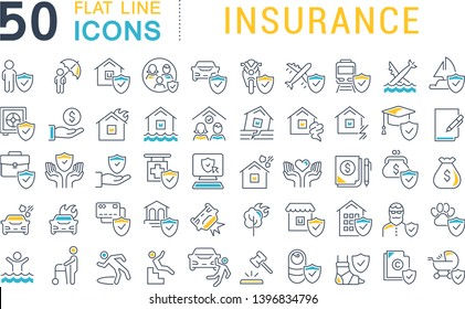 Set of vector line icons of insurance for modern concepts, web and apps.