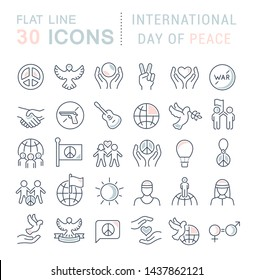 Set of vector line icons of international day of peace for modern concepts, web and apps.