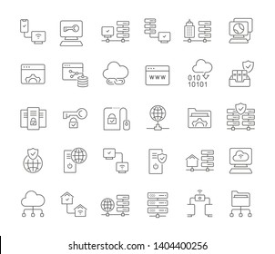 Set of vector line icons of internet technology for modern concepts, web and apps.