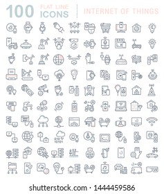 Set of vector line icons of internet of things for modern concepts, web and apps.