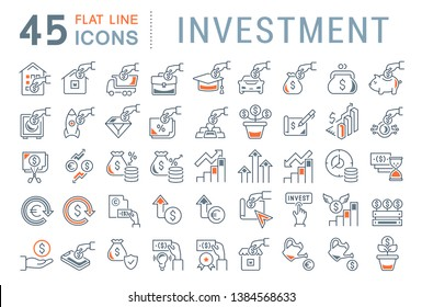 Set of vector line icons of investment for modern concepts, web and apps. Collection of infographics logos and pictograms.