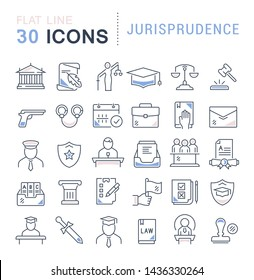 Set of vector line icons of jurisprudence for modern concepts, web and apps.