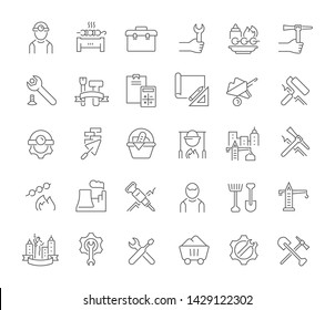 Set of vector line icons of labor day for modern concepts, web and apps.