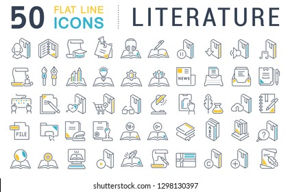 Set of vector line icons of literature for modern concepts, web and apps.