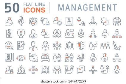 Set of vector line icons of management for modern concepts, web and apps.