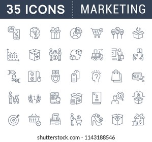 Set of vector line icons of marketing for modern concepts, web and apps. Collection of infographics elements, logos and pictograms.