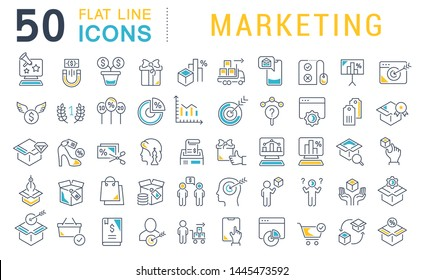 Set of vector line icons of marketing for modern concepts, web and apps.