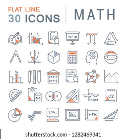 Set of vector line icons of math for modern concepts, web and apps.