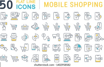 Set of vector line icons of mobile shopping for modern concepts, web and apps.