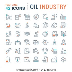 Set of vector line icons of oil industry for modern concepts, web and apps.