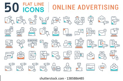 Set of vector line icons of online advertising for modern concepts, web and apps.