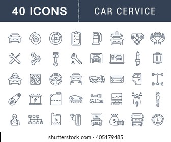 Set vector line icons with open path car service, auto repair and transport with elements for mobile concepts and web apps. Collection modern infographic logo and pictogram.