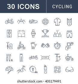 Set vector line icons with open path cycling, bike elements and parts, bicycle sport with elements for mobile concepts and web apps. Collection modern infographic logo and pictogram.