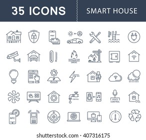 Set vector line icons with open path smart home, smart systems and technology with elements for mobile concepts and web apps. Collection modern infographic logo and pictogram.