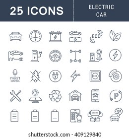 Set vector line icons with open path electric cars and eco transport with elements for mobile concepts and web apps. Collection modern infographic logo and pictogram
