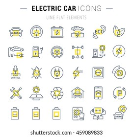 Set vector line icons with open path electric cars and eco transport with elements for mobile concepts and web apps. Collection modern infographic pictograms