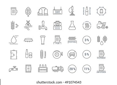 Set vector line icons with open path beer, bottle, glass, mug and pub logo with elements for mobile concepts and web apps. Collection modern infographic logo and pictogram.