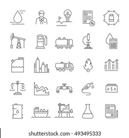 Set vector line icons with open path oil industry, power and energy production, mining minerals with elements for mobile concepts and web apps. Collection modern infographic logo and pictogram