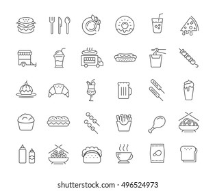 Set vector line icons with open path fast  and Chinese food with elements for mobile concepts and web apps. Collection modern infographic logo and pictogram.