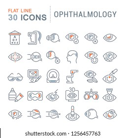 Set of vector line icons of ophthalmology for modern concepts, web and apps.