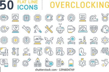 Set of vector line icons of overclocking for modern concepts, web and apps.