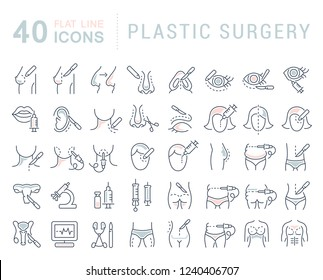 Set of vector line icons of plastic surgery for modern concepts, web and apps.