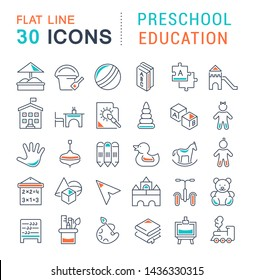 Set of vector line icons of preschool education for modern concepts, web and apps.