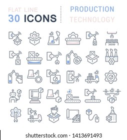 Set of vector line icons of production technology for modern concepts, web and apps.