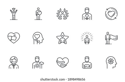 Set of Vector Line Icons Related to Self-esteem. Self-acceptance, Self-respect, Self-development. Editable Stroke. Pixel Perfect.
