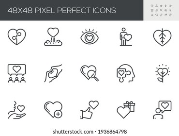 Set of Vector Line Icons Related to Friendship and Love. Falling in Love, Amorousness, Mutual Understanding, Passion, Mutual Relationship. Editable Stroke. 48x48 Pixel Perfect.