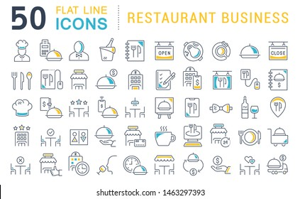 Set of vector line icons of restaurant business for modern concepts, web and apps.