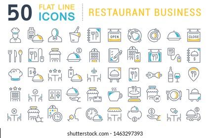 Set von Vektorgrafiken der Restaurantbranche für moderne Konzepte, Web und Apps.