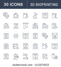 Set of vector line icons, sign and symbols of 3d bioprinting for modern concepts, web and apps. Collection of infographics elements, logos and pictograms.