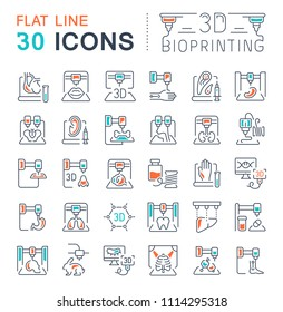 Set of vector line icons, sign and symbols with flat elements of 3d bioprinting for modern concepts, web and apps. Collection of infographics logos and pictograms.