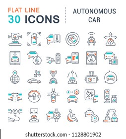 Set of vector line icons, sign and symbols with flat elements of autonomous car for modern concepts, web and apps. Collection of infographics logos and pictograms.