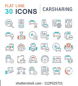 Set of vector line icons, sign and symbols with flat elements of carsharing for modern concepts, web and apps. Collection of infographics logos and pictograms.