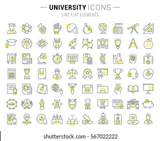 Set vector line icons, sign and symbols in flat design university, e-learning and science with elements for mobile concepts and web apps. Collection modern infographic logo and pictogram.