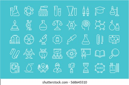 Set vector line icons, sign and symbols in flat design chemistry with elements for mobile concepts and web apps. Collection modern infographic logo and pictogram.