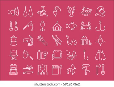 Set vector line icons, sign and symbols in flat design fishing with elements for mobile concepts and web apps. Collection modern infographic logo and pictogram.