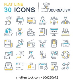Set vector line icons, sign and symbols in flat design journalism with elements for mobile concepts and web apps. Collection modern infographic logo and pictogram.