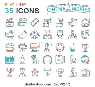 Set vector line icons, sign and symbols in flat design cinema and movies with elements for mobile concepts and web apps. Collection modern infographic logo and pictogram.